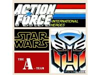 Star wars, Action Force, Transformers, A-team 1980's toys wanted
