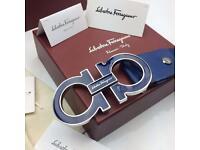 BLUE US COLLECTION FASHION MENS RARE BLUE LEATHER belt for men Salvatore ferragamo boxed brilliant