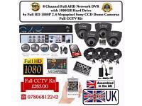4 Cameras Full AHD CCTV KIT, QVIS 8CH FULL AHD DVR, 4x 2.4MP Dome Cameras