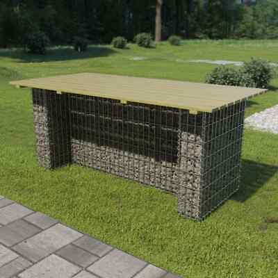 vidaXL Garden Table with Steel Gabion Pinewood 180x90x74cm Stone Basket