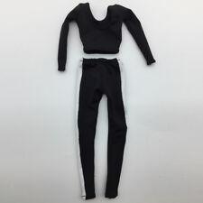 1/6 black yoga crop top  side stripe pants for 12'' ht/ss