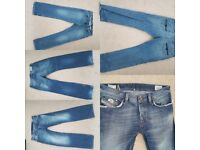 10 pairs jeans - 4x ralph lauren, diesel, firetrap - mixed sizes