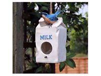 Novelty Milk Carton Bird House Hatching & Nesting Box for Small Garden Birds £8
