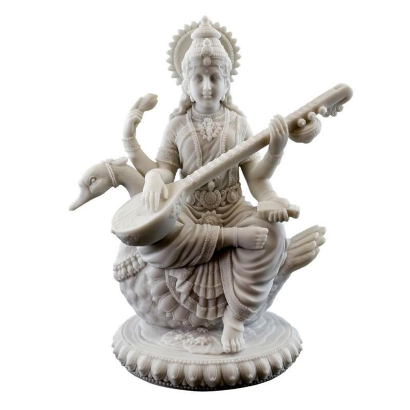 "SARASWATI ON SWAN STATUE 8.5"" Hindu Goddess Knowledge White Marble Finish Resin"