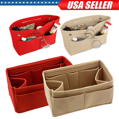 Handbag Liner - Women Organizer Handbag Felt Travel Bag Insert Liner Purse Organiser Multipocket