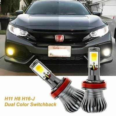 H8 H11 H16 White/Yellow Switchback COB LED Daytime Running Fog Driving