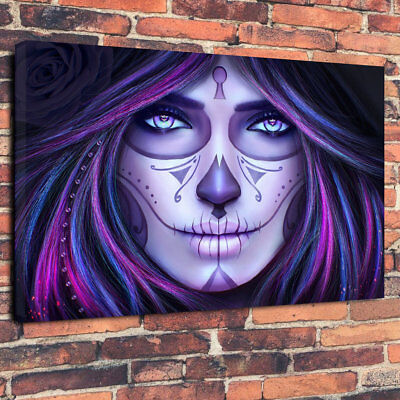 Purple Sugar Skull Make Up Printed Canvas Picture A1.30