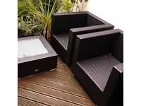 quality Cozy Bay garden or patio rattan furniture set but no cushions