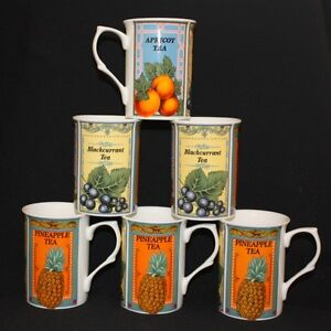 6 FINE BONE CHINA BLACKCURRENT APRICOT PINEAPPLE FRUIT TEA MUGS CUP GIFT SET NEW