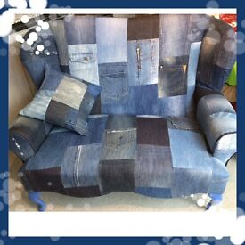 Denim patchwork 2 seater wingback sofa