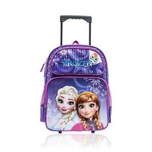 Disney Frozen Elsa and Anna Girls 16 Inch Wheeled Backpack with Retractable Handle