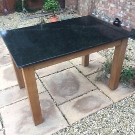 Marble Top Table with Oak Legs