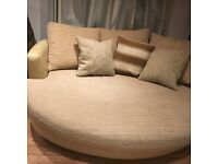 Large Biscuit Leather and Fabric Sofa