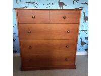 Cherry Wood 5 Drawer Chest of Drawers from Heals of London