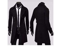 Men's Black Overcoat - BRAND NEW - Size L (Black)