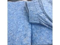 Blue blackout heavy curtains with pelmet & tie back