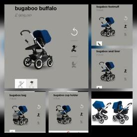 Stunning BUGABOO BUFFALO ROYAL BLUE PRAM BUNDLE