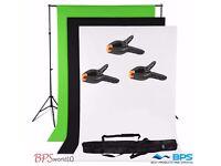 Photo Studio Black White Chroma Key Green Screen Background + Backdrop Stand Kit