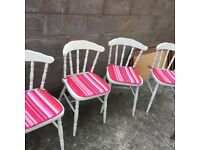 four solid pine dining chairs in white, with cushions,can deliver