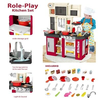 Kitchen Kids Play Set Pretend Baker Toy Cooking Playset Girls Food Accessories T