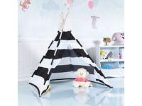 Costway UK Teepee Indian Play Tent Wooden Bar Indoor Outdoor Children Playhouse Canvas