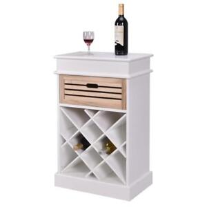 12 Bottles Wine Rack Cabinet Storage Display Shelves Wood Kitchen Decor White - BRAND NEW - FREE SHIPPING