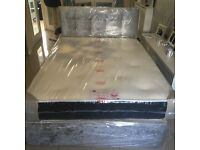 Full double crushed velvet bed with headboard and memory mattress