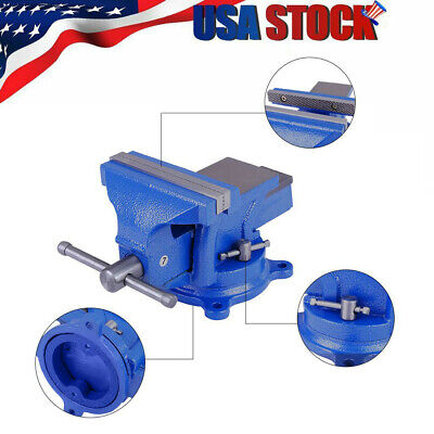 58bench Vise With Anvil Swivel Locking Base Table Top Clamp Heavy Duty Vice