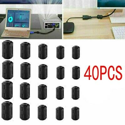 40pc Cable Clips Clip-on Ferrite Ring Core Rfi Emi Noise Suppressor Filter Beads