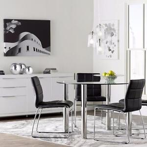 Brand New!!  Sophisticated Glass 5 Pc Round & Contemporary Style, Lacquer Finish 5 Pc Dining Set
