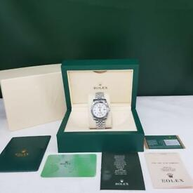 Rolex DateJust Silver White Face Diamond Numbers - Complete Set Box And Papers 1 Year Free Warranty