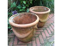 Pair of terracotta flower/plants pots. Heavy & large. No chips/cracks etc.