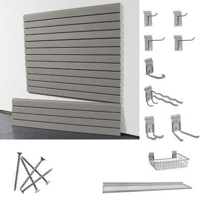 Storewall 14 Piece Slatwall Starter Set With 4ft Basic Duty Wall Panels Hooks