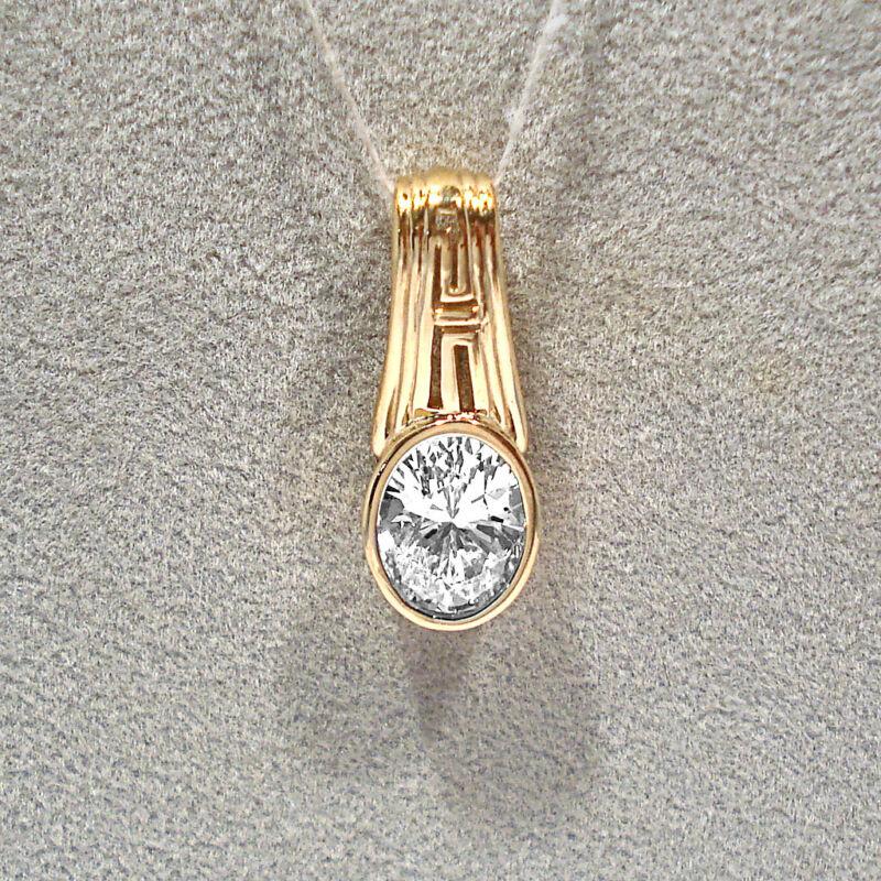 SOLID 14K YELLOW GOLD DIAMONIQUE PENDANT