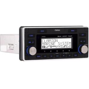 Clarion Marine Audio System M608 Watertight 4-Zone Marine Digital Receiver with Bluetooth Head unit fits in a single Din