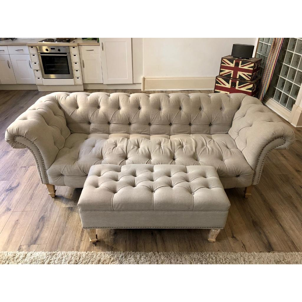 2 Light Grey Home Sense Chesterfield Sofas Foot Stool