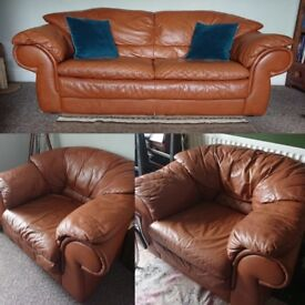 Tan Leather Sofa Suite