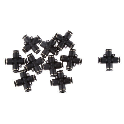 10x Tube Od 6mm 14 Pneumatic Cross Union Connector Quick Fittings Push In