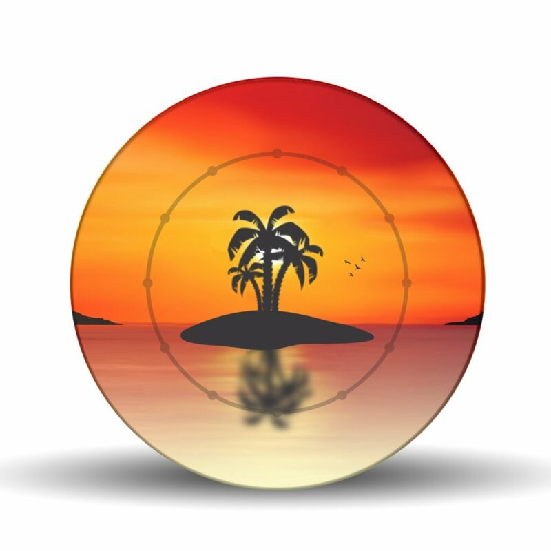 "Palms Sunset 17.75"" Glass Lazy-Susan Turntable"