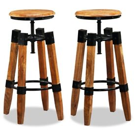 Bar Stools 2 pcs Solid Mango Wood-244589