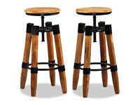 Bar Stools 2 pcs Solid Mango Wood-244589