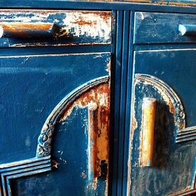 Authentic Shabby Chic Distressed Antique Sideboard Cupboard w/ Drawers / Can Deliver
