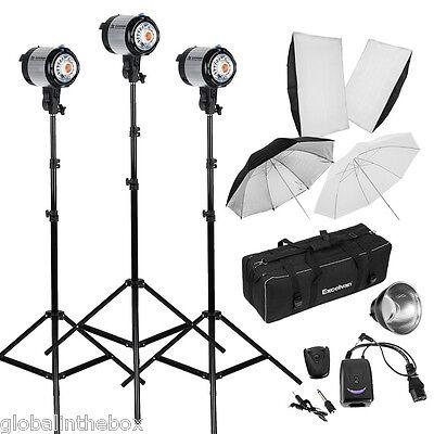 Photography Strob Light Background Stand 900W Photo Studio Flash Lighting Kit UK