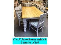 Heavy farmhouse , shabby chic , vintage Table & 6 chairs