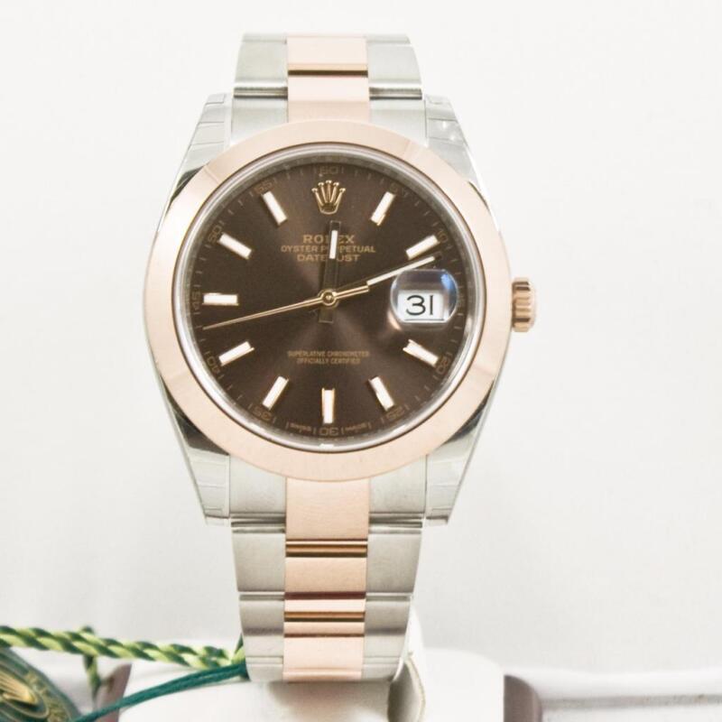 Unused Rolex Steel & Rose Gold 41mm Datejust 126301 Chocolate Index Face W Card