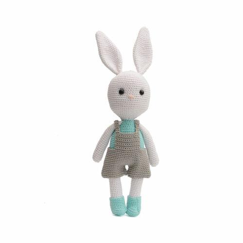 Little White Bunny Rabbit Handmade Amigurumi Stuffed Toy Knit Crochet Doll VAC