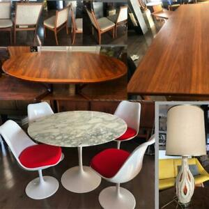 Authentic Saarinen Marble Tulip Table, REFINISHED Danish Mid Century Modern Teak Walnut Rosewood Dining Coffee Tables
