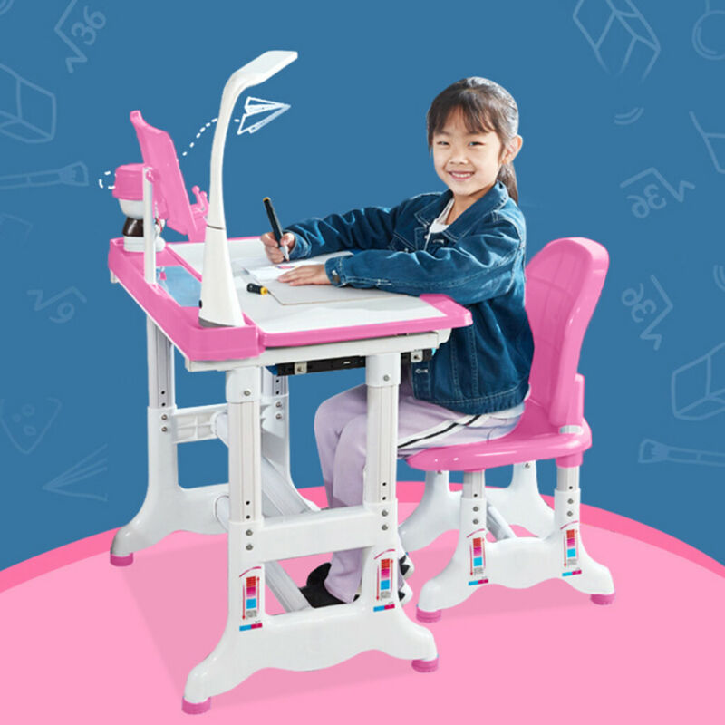 Height Adjustable Study Desk And Chair Set Pull Out Drawer W