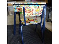 Upcycled child's desk and chair, deco patched using old Topper and Beezer annuals