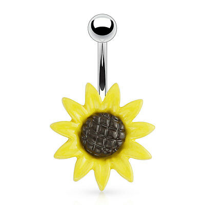 Metal Sunflower 316L Surgical Steel Navel Belly Button -